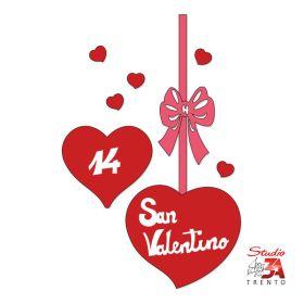 Vetrofania Cuori con fiocco e scritta S.Valentino