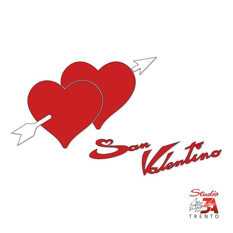 Vetrofania Cuori con freccia e scritta S.Valentino