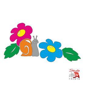 Vetrofania Chiocciola con fiori