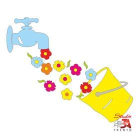 Vetrofania Secchio con fiori e rubinetto