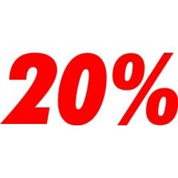 Scritta 20% adesiva per negozio altezza 20 cm