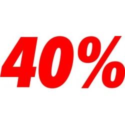 Scritta 40% adesiva per negozio altezza 20 cm