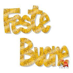 Stickers buone feste oro brillante