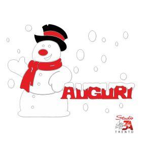 Vetrofania pupazzo di neve con auguri