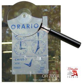 Cartello orario con lancette, base argento 13x21,5 con ventosa