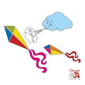 Vetrofania Nuvola con aquiloni